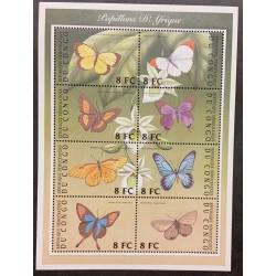 L) CONGO, BUTTERFLIES, WILDLIFE, NATURE, FLOWERS, MNH, SOUVENIR SHEET