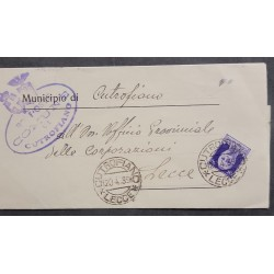 SL) 1939 ITALY, KING VICTOR EMMANUEL, 50 CENTS, LETTER CIRCULATED TO LECCE
