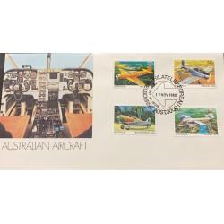 A) 1980 AUSTRALIA, AIRPLANES, FDC, WACKETT. 1941, WINJEEL. 1955, BOOMERANG. 1944, NOMAD. 1975, XF