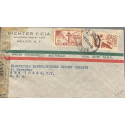 A) 1945 MEXICO, AMERICA UNITED FOR FREEDOM, WITH WATERMARK. AIRMAIL, TUBERCULOSIS FIGHT