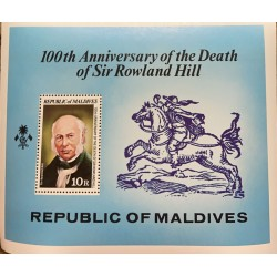 SA) 1979 MALDIVES, 100TH ANNIVERSARY OF THE DEATH OF THE INVENTOR OF THE SEAL SIR ROWLAND HILL, MINISHEET