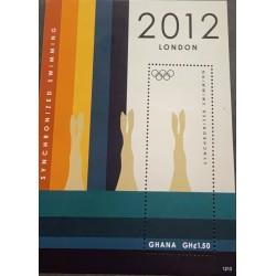 SA) 2012 GHANA, SYNCHRONIZED SWIM, OLYMPIC GAMES, LONDON, GREAT BRITAIN MINIATURE SHEET