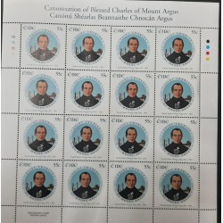 A) 2007, IRELAND, CANONIZATION OF SAN CARLOS DEL MONTE AGUS, TABLE BY JAMES HANLEY, BLOCK OF 16 STAMPS, MNH
