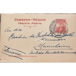 A) 1917 MEXICO, POSTCARD, MONUMENT, SHIPPED TO GERMANY, CANCELLATION OF MAILBOXES, RARE, MONUMENTS TO THE EMPEROR CUAUHTEMOC XF