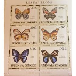 A) 2009 COMOROS, BUTTERFLIES, MNH, SERIES OF 6, MULTICOLORED, INSECTS, FAUNA