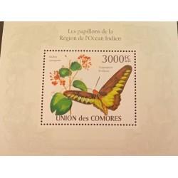 A) 2010 COMOROS, BUTTERFLY, SOUVENIR SHEET, MINT