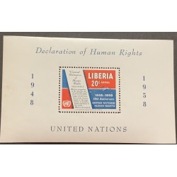 A) 1958 LIBERIA, DECLARATION OF HUMAN RIGHTS, UNITED NATIONS, MINISHEET