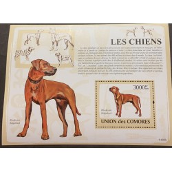 A) 2009 COMOROS, DOG, PET, RHODESIAN CRESTED, MINISHEET