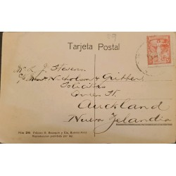 A) 1922 ARGENTINA, FIRST PAN-AMERICAN POSTAL CONGRESS, RARE DESTINO, POSTCARD FROM BUENOS AIRES TO NEW ZEALAND