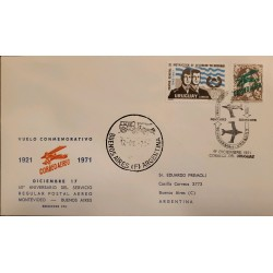 A) 1971 URUGUAY, AIRMAIL - STAMP DAY - ISSUE OF 1921 OVERPRINT, COMMEMORATIVE FLIGHT, FROM MONTEVIDEO TO BUENOS AIRES,