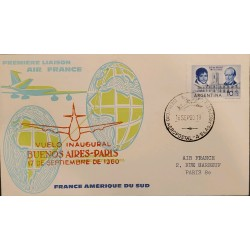 A) 1960 ARGENTINA, ANNIVERSARY OF THE MAY REVOLUTION, AIR FRANCE, FIRST INAUGURAL FLIGHT, CA