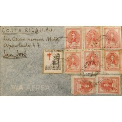 A) 1948 ARGENTINA, GRAL DE SAN MARTIN, FROM CORDOBA TO COSTA RICA, WITH CANCELLATIONS, AIR MAIL, XF