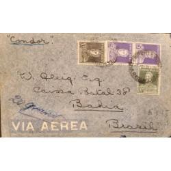 A) 1935 ARGENTINA, CONDOR, GENERAL SAN MARTIN, AIR MAIL, SENT TO BRAZIL, WEIGHT 20 GRAMS, XF