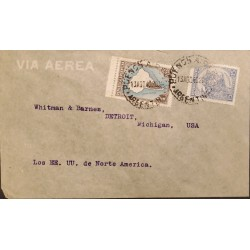 A) 1940 ARGENTINA, MAP OF ARGENTINA WITHOUT BORDER, LIVESTOCK, AIR MAIL, FROM BUENOS AIRES TO MICHIGAN - USA, WITH CANCELLATIONS