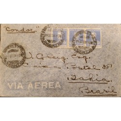 A) 1935 ARGENTINA, GENERAL SAN MARTIN, SENT TO BAHIA - BRAZIL, CONDOR, AIR MAIL, WITH CANCELLATIONS