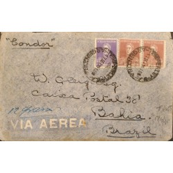 A) 1935 ARGENTINA, GENERAL SAN MARTIN, SENT TO BAHIA - BRAZIL, CONDOR, AIR MAIL, WITH CANCELLATIONS, WEIGHT 12 GRAMS
