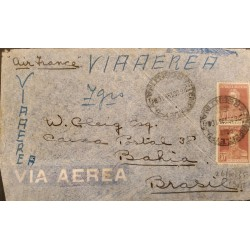 A) 1935 ARGENTINA, AIR FRANCE, GRAL SAN MARTIN, SENT TO BAHIA - BRAZIL, AIR MAIL, WITH CANCELLATIONS, WEIGHT 7 GRAMS