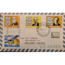 A) 1977 ARGENTINA, FROM BUENOS AIRES TO HOLLAND, RARE DESTINATION, AIR MAIL, MULTIPLE STAMP, XF