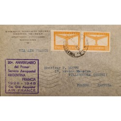A) 1948 ARGENTINA, PLANE, AIR MAIL, FROM BUENOS AIRES TO FRANCE, WITH CANCELLATIONS, XF