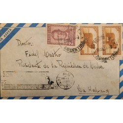 A) 1959 ARGENTINA, WOOL, SHIPPED TO HAVANA, WITH CANCELLATION SLOGAN,