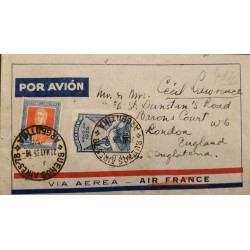 A) 1935 ARGENTINA, AIR FRANCE, GRAL SAN MARTIN, FROM BUENOS AIRES TO ENGLAND, ON VISIT OF PRESIDENT VARGAS DE BRASIL STAMP