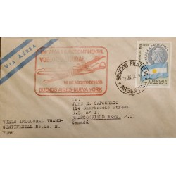 A) 1958 ARGENTINA, LIBERTY AND DEMOCRACY, SHIPPED TO CANADA, INAUGURAL FLIGHT, VIA NEW YORK, WITH CANCELLATION IN RED INK
