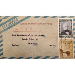 A) 1950 ARGENTINA, DON JOSE DE SAN MARTIN, SENT TO SUECIA, VIA S.A.S, CANCALATION YEAR OF THE LIBERATOR, AIR MAIL, XF