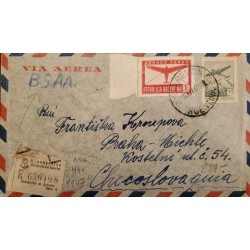 A) 1947 ARGENTINA, AIR MAIL, FROM BUENOS AIRES TO CZECHOSLOVAQUIA, RARE DESTINATION, VIA B.S.A.A, REGISTERED