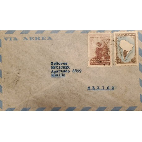 A) 1952 ARGENTINA, MAP OF ARGENTINA WITHOUT BORDERS, SENT TO MEXICO, AIR MAIL, INDUSTRY DAY, XF