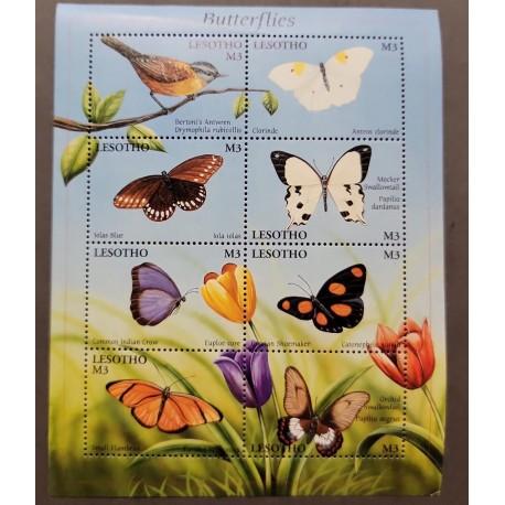 SL) LESOTO, BUTTERFLIES, FLOWERS, FAUNA AND FLORA, MEMORY SHEET, MNH.