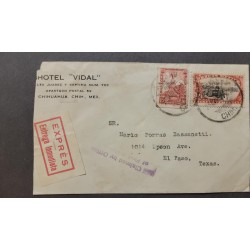 SL) 1923 MEXICO, CUAUHTÉMOC MONUMENT, SC 639, IMMEDIATE DELIVERY, LETTER CIRCULATED FROM MEXICO TO TEXAS
