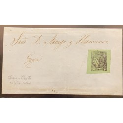 J) 1864 ARGENTINA, CORRIENTES, SCOTT 4, BLACK ON YELLOW GREEN, TYPE 7, A GREAT EXAMPLE USED WITH LARGE MARGINS