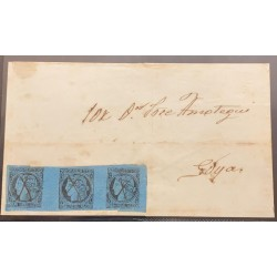 J) 1856 ARGENTINA, CORRIENTES, SCOTT 1, A REAL MC, BLACK ON BLUE PAPER, A USED HORIZONTAL STRIP OF 3. TYPES 4-1-2