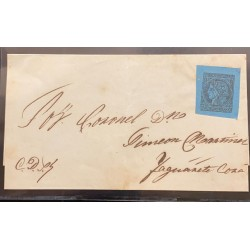 J) 1860 ARGENTINA, CORRIENTES, SCOTT 1, A ROYAL BLACK ON BLUE, TYPE 6, A GOOD USED EXAMPLE WITH LARGE MARGINS AROUND