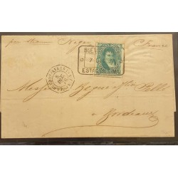 J) 1978 ARGENTINA, SCOTT 35, GREEN RULETED STAMP, A SINGLE EXAMPLE USED IN THE COMPLETE 1878 LETTER TO BORDEAUX