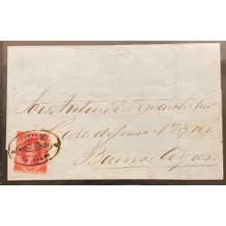 J) 1867 ARGENTINA, SCOTT 17, RIVADAVIA 5C, CARMIN, PERFORATION 11, A GOOD EXAMPLE IN A BRIGHT TONE, USED IN JULY 1867